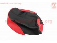 Чехол сидения Honda DIO AF27 (эластичный, прочный материал) черный/красный [Украина]