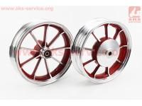 Диск колесный ЛИТОЙ задний + передний (диск. торм.) Yamaha JOG, красный [Китай]