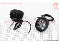 Фара дополнительная светодиодная влагозащитная (65*55mm) - 4 LED с креплением под зеркало, к-кт 2шт, тип 2 [Китай]
