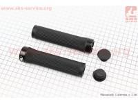 Ручки руля 130мм с зажимом Lock-On, черные TPE-092 [FB ONE]