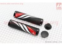 Рукоятки руля 130мм с зажимом Lock с двух сторон, экокожа к-кт, черно-бело-красные VLG-851 [VELO]