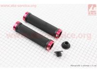 Рукоятки руля 130мм с зажимом Lock с двух сторон к-кт, черно-красные FL-426 [Китай]