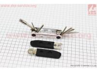 Ключ-набор 15предметов (шестигранники 2,2.5,3,4,5,6,8мм, отвёртки прямая и фигурная, гаечные ключи 8,9,10мм, спицные ключи 14,15G, лопатки), YC-275 [BIKE HAND]