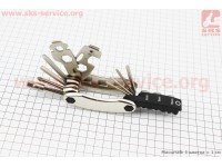 Ключ-набор 21предмет (2,2.5,3,4,5,6,8мм, отвёртки прямая и фигурная, головки 8,9,10мм, гаечные  8,9,10,12,13,15мм, спицные ключи 14,15G, лопатки) [BIKE HAND]