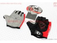 Перчатки без пальцев L-черно-красные, с мягкими вставками под ладонь [PEARL iZUMi]