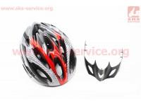 """Шлем велосипедный L (54-62 см) съемный козырек, 21 вент. отверстия, системы регулировки по размеру Divider и Run System SRS, черно-красный """"GIANT"""" [Китай]"""