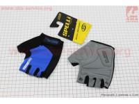 Перчатки без пальцев S-черно-cиние, с гелевыми вставками под ладонь SBG-1457 [SPELLI]