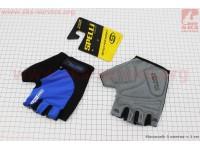 Перчатки без пальцев L-черно-cиние, с гелевыми вставками под ладонь SBG-1457 [SPELLI]