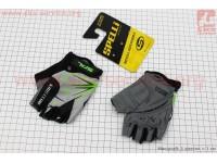 Перчатки детские без пальцев 2XS-черно-серо-зеленые, с мягкими вставками под ладонь SKG-1553 [SPELLI]