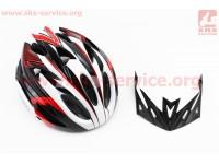 Шлем велосипедный L (58-61 см) съемный козырек, 18 вент. отверстия, системы регулировки по размеру Divider и Run System SRS, черно-бело-красный AV-01 [AVANTI]