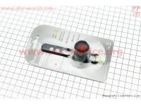Фонарь задний 1 диод алюминиевый, черный (без батареек) [Китай]