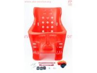 Сиденье для перевозки детей пластмассовое заднее, крепл. на багажник, красное [Китай]