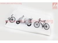 Чехол на велосипед 200х65х110см, влагозащитный полиэстер, белый [Китай]