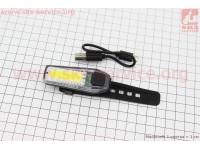 Фонарь передний 12 диодов 120 lumen, Li-ion 3.7V 300mAh зарядка от USB, влагозащитный, ZH1608 [Китай]