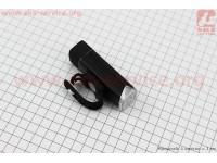 Фонарь передний 1 диод 180 lumen алюминиевый, Li-ion 3.7V 1200mAh зарядка от USB, влагозащитный, черный EOS100 [Китай]