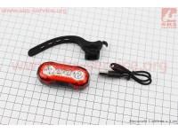 Фонарь задний 4 диода 100 lumen, Li-ion 3.7V 500mAh зарядка от USB, влагозащитный, HJ-037 [Китай]
