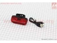Фонарь задний 16 диодов 100 lumen, Li-ion 3.7V 500mAh зарядка от USB, влагозащитный, DMFL-526 [Китай]