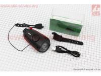 Фонарь передний 1 диод + звонок 2 мелодии, Li-ion 3.7V 1200mAh зарядка от USB, влагозащитный, черно-красный FY-058 [Китай]