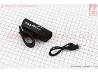 Фонарь передний 1 диод алюминиевый, Li-ion 3.7V 850mAh зарядка от USB, влагозащитный, черный HYD-018 [Китай]