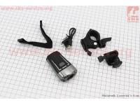 Фонарь передний 1 диод 300 lumen, Li-ion 3.7V 1200mAh зарядка от USB, влагозащитный, черно-серый HJ-049 [Китай]