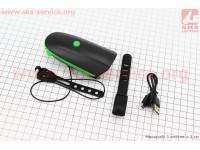 Фонарь передний 1 диод + звонок 2 мелодии, Li-ion 3.7V 1200mAh зарядка от USB, влагозащитный, черно-зеленый FY-058 [Китай]