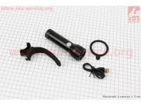 Фонарь передний 1 диод 500 lumen, алюминиевый, Li-ion 3.7V 2400mAh зарядка от USB, влагозащитный, черный JY-7012F-1000 [Китай]