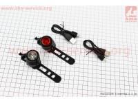 Фонарь передний 1 диод + задний 1 диод, алюминиевые, Li-ion 3.7V 260mAh зарядка от USB, влагозащитные к-кт, JY-3006U [Китай]