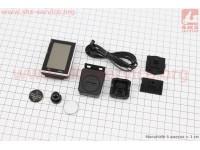 """Велокомпьютер 15-функций, беспроводной, 1.9 """" дисплей, влагозащитный, черно-серый JY-M19-CW [JING YI]"""