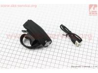 Фонарь передний 1 диод 250 lumen, Li-ion 3.7V 1200mAh зарядка от USB, с сенсорной кнопкой управления, влагозащитный, черный MX-026 [Китай]