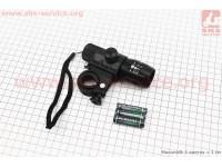 Фонарь передний 1 диод (линза), алюминиевый, черный JY-359 [Китай]