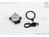 Фонарь передний 3 диода 120 lumen, Li-ion 3.7V 650mAh зарядка от USB, влагозащитний, JY-6028F [Китай]