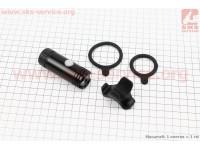 Фонарь передний 1 диод 120 lumen алюминиевый, Li-ion 3.7V 600mAh зарядка от USB, влагозащитный, черный JY-7012FA [Китай]