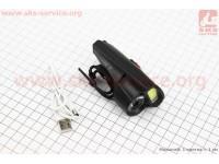 Фонарь передний 1+7 диодов 360 lumen, Li-ion 3.7V 500mAh зарядка от USB, влагозащитный, черный BG-C20 [Китай]