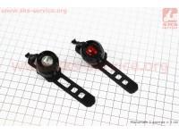 Фонарь передний 1 диод + задний 1 диод, алюминиевые к-кт, черные JY-3006 [Китай]