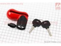 Замок противоугонный на диск тормозной под ключ, красно-черный TY115 [Tonyon]