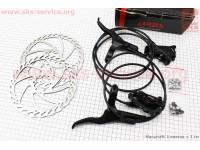 Тормоз дисковый гидравлический передний (адаптер F180/R160мм) + задний (адаптер F200/R180мм) к-кт, черный [ARES]