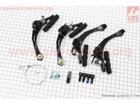 """Тормоз """"BMX"""" U-brake задний + передний алюминиевый, ход колодки 29-45мм, черный HJ-926AD [ALHONGA]"""