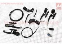 Тормоз V-brake задний+передний в сборе 110мм, рычаги+троса, черные [ALHONGA]