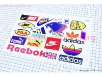 """Наклейки на планшете """"Nike Reebok adidas PUMA"""" набор 17шт 26х17, 0013 [Китай]"""