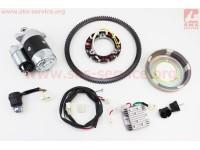 Комплект для переоснащения мотоблока под электростартер 186F (электростартер, замок, проводка, магнето, реле, венец) [Китай]