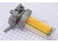 Кран топливный + фильтр в пластмассовом, прозрачном корпусе Тип №1 [Китай]