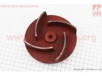 Рабочее колесо (крыльчатка) D=123mm, под вал d=19mm, 4 лопасти, чугун [Китай]