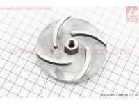 Рабочее колесо (крыльчатка) D=74mm, под резьбу М10mm, 4 лопасти, алюминий [Китай]