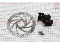 Тормоз дисковый передний (адаптер F160/R140мм) + тормозной диск 160мм, под 6 болтов, к-кт [ARES]