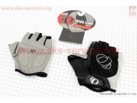 Перчатки без пальцев L-черно-серые, с мягкими вставками под ладонь