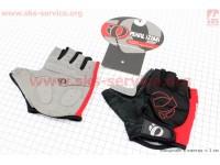 Перчатки без пальцев M-черно-красные, с мягкими вставками под ладонь