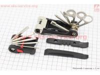 Ключ-набор 19предметов (шестигранники 2,2.5,3,4,5,6,8мм, отвёртка фигурная, гаечные ключи 8,10,15мм, спицные ключи 12,14,15G, выжимка цепи, лопатки)