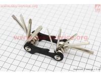 Ключ-набор 10предметов (шестигранники 2,2.5,3,4,5,6мм, отвёртки прямая и фигурная, Т25 ключ-звездочка, открывалка), KL-9834A [Китай]