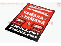 """Наклейки на планшете """"Yamaha/Dunlop"""" красные набор 13шт 23х32, 5997"""