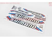 """Наклейки на планшете """"SHIMANO"""" набор 13шт 34х20, B17"""